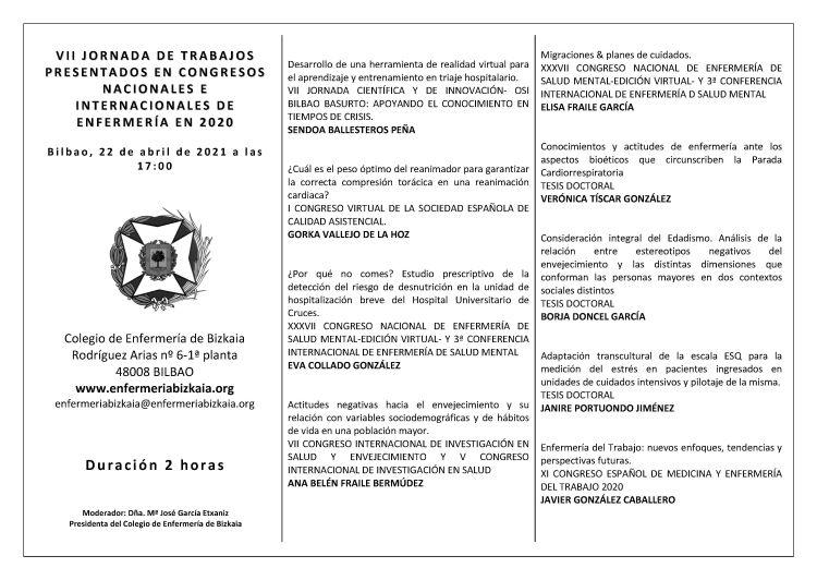 VII JORNADA DE TRABAJOS PRESENTADOS EN CONGRESOS NACIONALES E INTERNACIONALES DE ENFERMERÍA EN 2020
